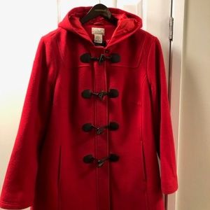 LL Bean Red Wool Duffle Coat, with Thinsulate